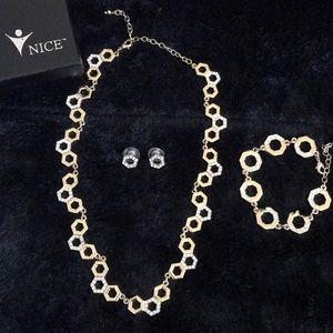 Gold plated necklace and earrings set.